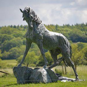 1JA13003 black stallion horse statue (7)