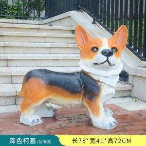 1JC16001 Corgi Sculpture Fiberglass China Factory
