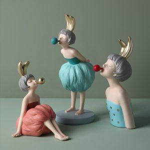 1JC21018 resin bubble girl statue fille (2)