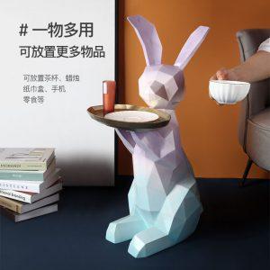 1JC21038 Resin Rabbit Statues Serveware (1)