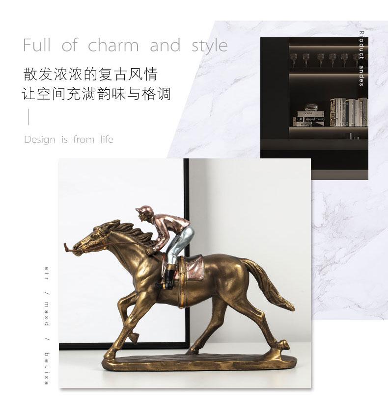 1JA29003 Horse And Rider Statue China Maker Detail (2)
