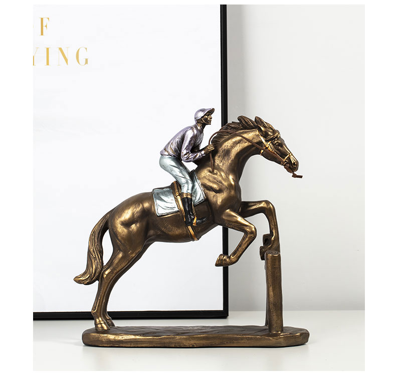 1JA29003 Horse And Rider Statue China Maker Detail (4)