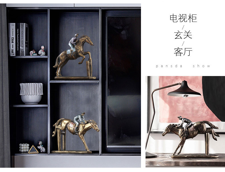 1JA29003 Horse And Rider Statue China Maker Detail (7)