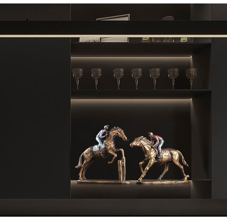 1JA29003 Horse And Rider Statue China Maker Detail (8)