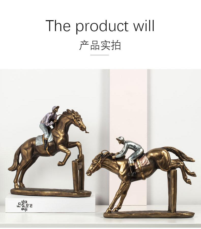 1JA29003 Horse And Rider Statue China Maker Detail (9)