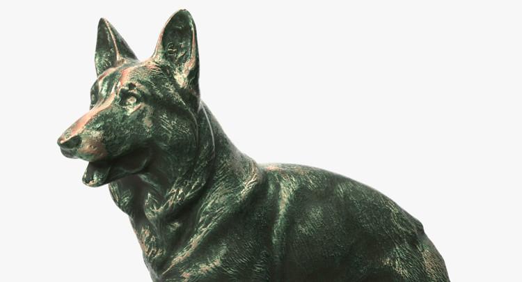 1I801001 Bronze German Shepherd Statue (11)