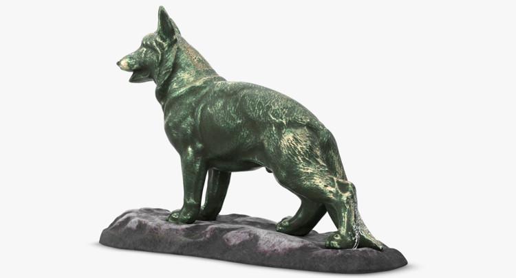 1I801001 Bronze German Shepherd Statue (4)