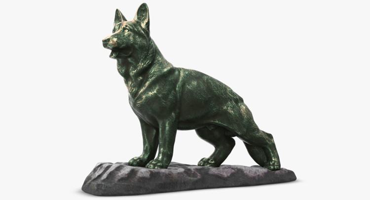 1I801001 Bronze German Shepherd Statue (6)