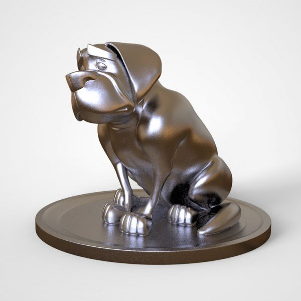 1I801014 Silver Dog Statue Resin (1)
