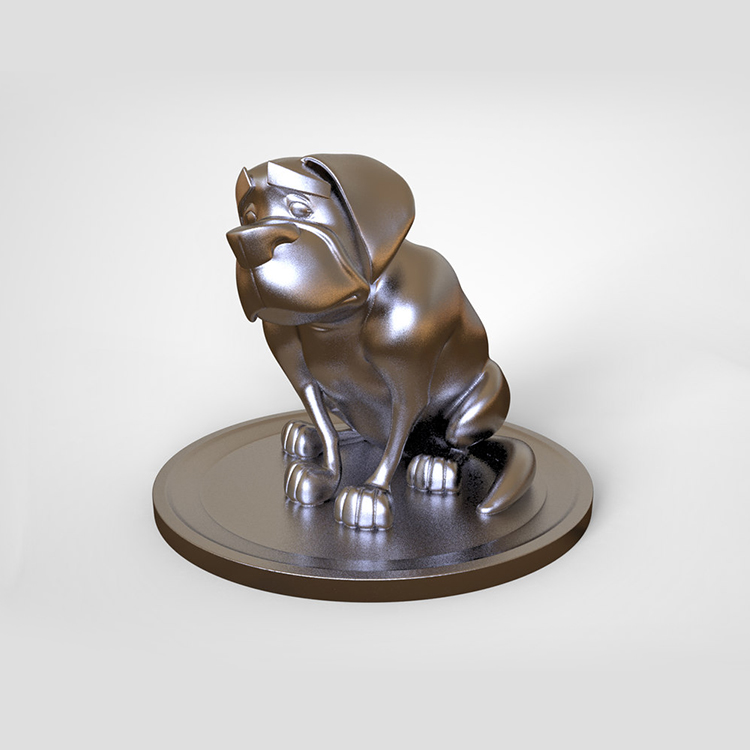 1I801014 Silver Dog Statue Resin (2)