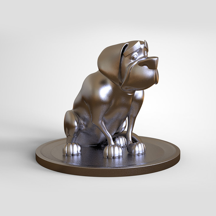 1I801014 Silver Dog Statue Resin (3)