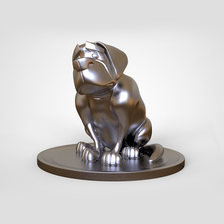 1I801014 Silver Dog Statue Resin (4)