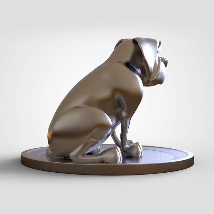1I801014 Silver Dog Statue Resin (5)