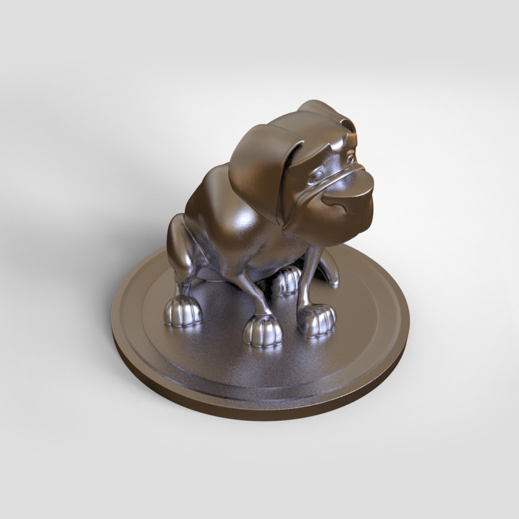 1I801014 Silver Dog Statue Resin (7)