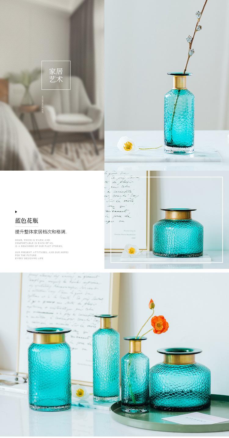 1JC21042 Blue Glass Flower Vase Home Decor (11)