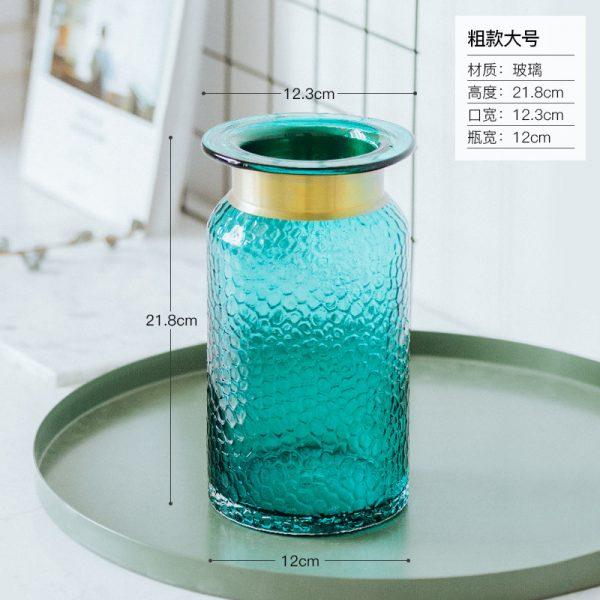 1JC21042 Blue Glass Flower Vase Home Decor (14)