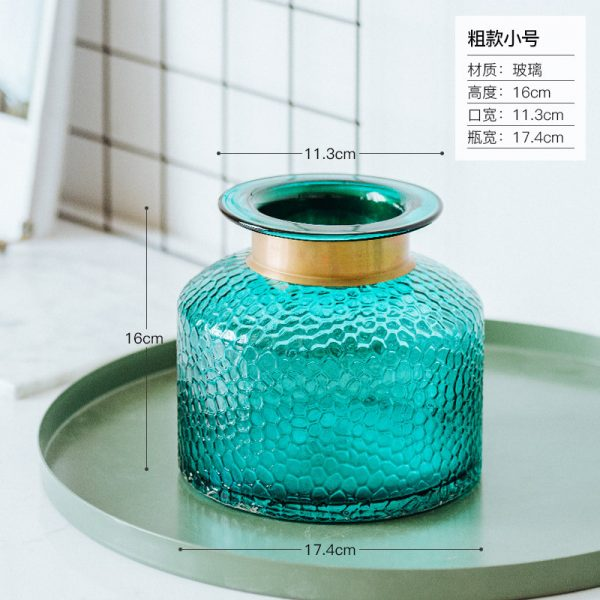 1JC21042 Blue Glass Flower Vase Home Decor (15)