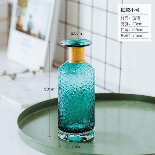 1JC21042 Blue Glass Flower Vase Home Decor (16)