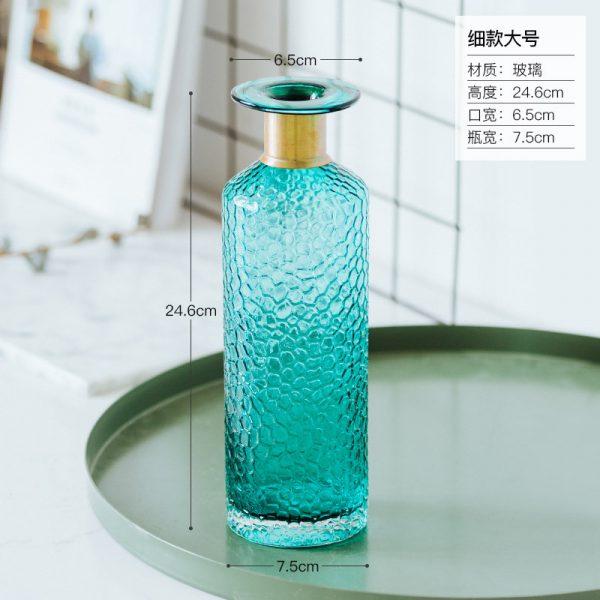 1JC21042 Blue Glass Flower Vase Home Decor (17)
