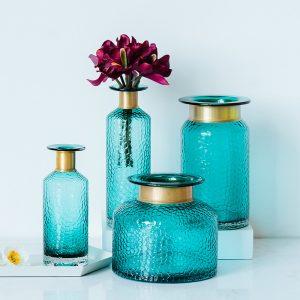 1JC21042 Blue Glass Flower Vase Home Decor (2)