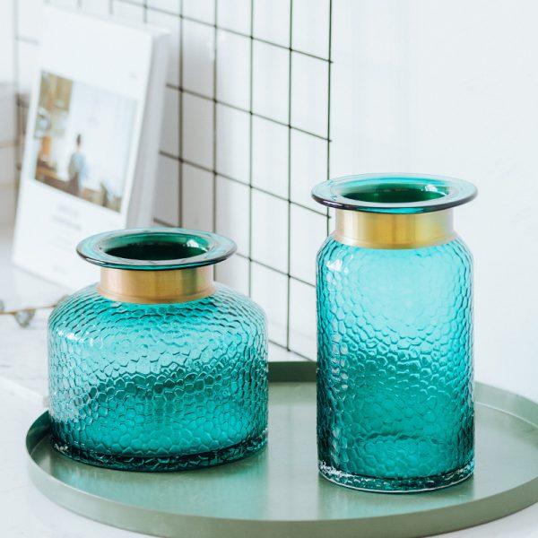 1JC21042 Blue Glass Flower Vase Home Decor (4)