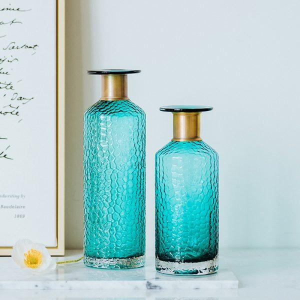 1JC21042 Blue Glass Flower Vase Home Decor (5)