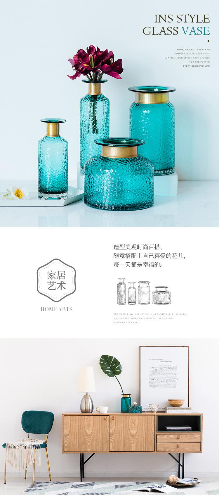 1JC21042 Blue Glass Flower Vase Home Decor (6)