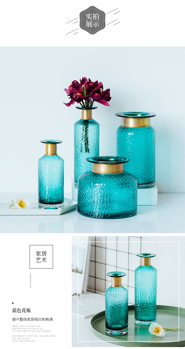 1JC21042 Blue Glass Flower Vase Home Decor (9)