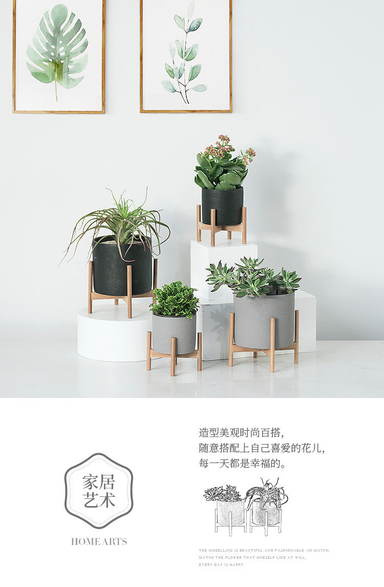 1JC21073 Wood Stand Flower Pot China Factory (5)