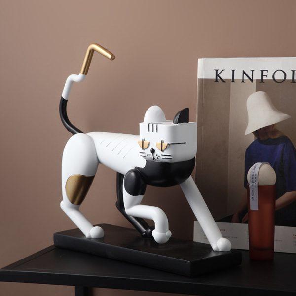1JC21083 Statue De Chat Resin Cat (1)