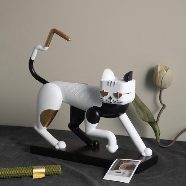 1JC21083 Statue De Chat Resin Cat (4)