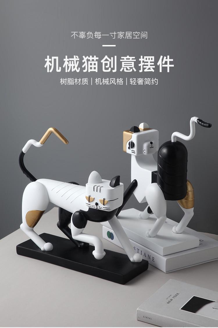 1JC21083 Statue De Chat Resin Cat (6)