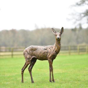 1JA19007 Bronze Deer Statues Garden Maker (2)