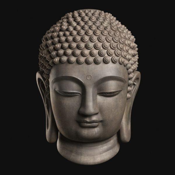 1I805008 Buddha Head Statue Bronze (1)