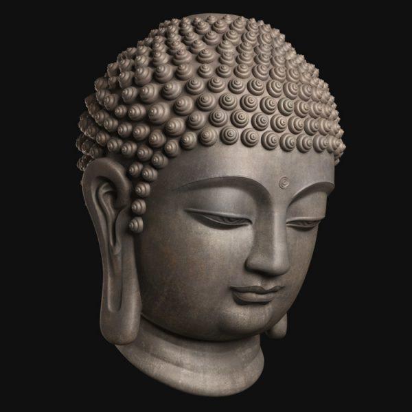 1I805008 Buddha Head Statue Bronze (2)