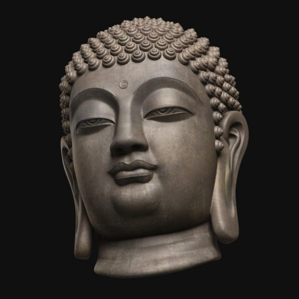 1I805008 Buddha Head Statue Bronze (3)