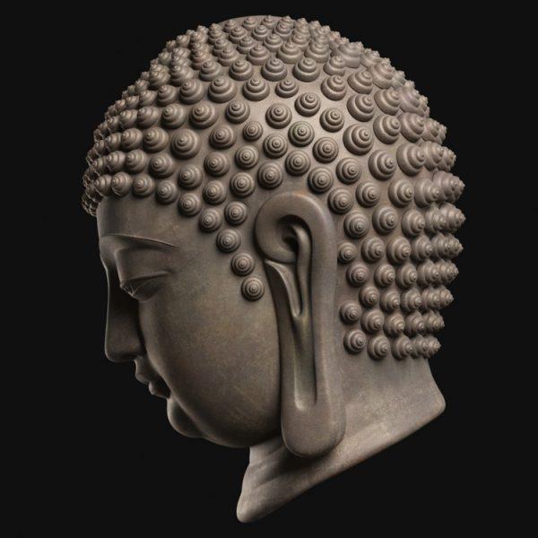 1I805008 Buddha Head Statue Bronze (4)