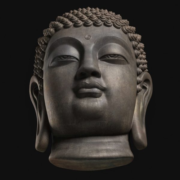 1I805008 Buddha Head Statue Bronze (5)