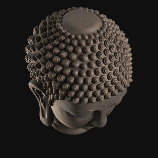 1I805008 Buddha Head Statue Bronze (6)