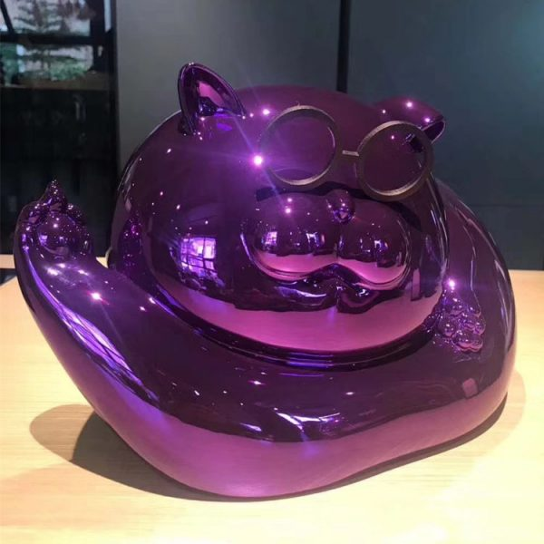 1J615005 Chrome Statue Cat Resin (1)