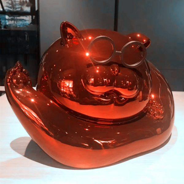 1J615005 Chrome Statue Cat Resin (3)