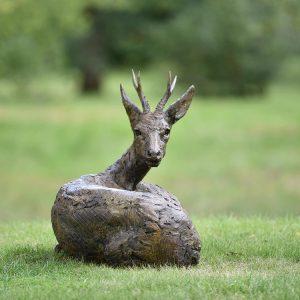 1JA19008 Buck Statue Bronze Garden Decor (4)