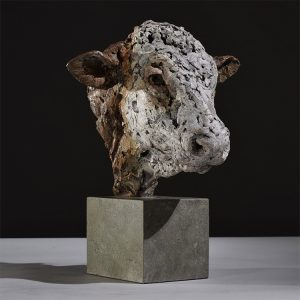1JA19009 Bull Head Statue Bronze (1)