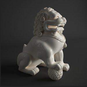 Foo Dog Statue White Porcelain (1)