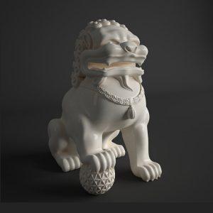 Foo Dog Statue White Porcelain (2)